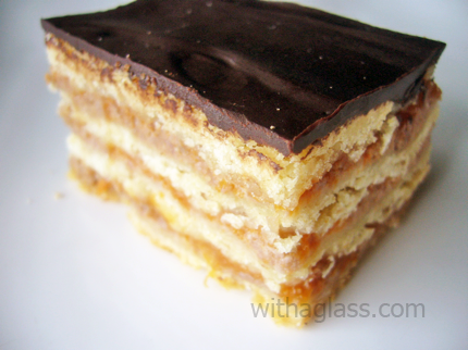 Gerbeaud (Zserbó), or Walnut and Apricot Layered Cake