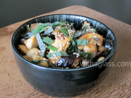 Aubergine, Mushrooms, Chicken with Cashew Nuts in Miso Sauce