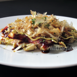 Okonomiyaki with Eringi Mushrooms and Bacon