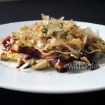 Okonomiyaki (Japanese pancake) with Eringi and Bacon