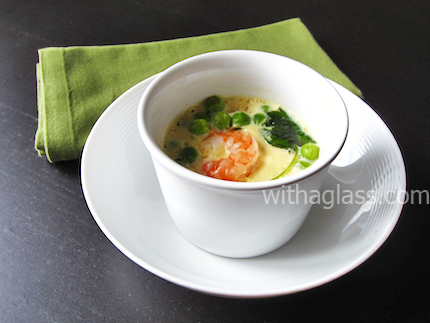 Chawan Mushi (茶碗蒸し), or Egg Custard with Shrimp and Peas