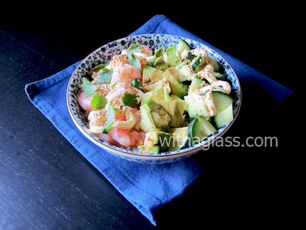 Hot & Cold Rice Bowl with Shrimp, Avocado and Cucumber