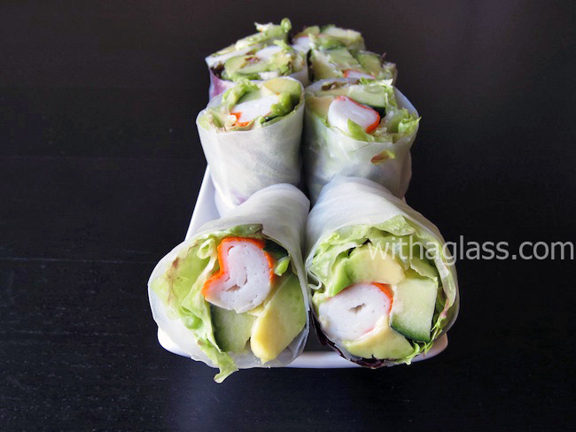 Spring Rolls with Surimi Crab Sticks, Avocado and Lettuce