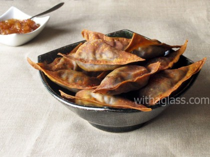 Baked Wonton Dumplings with Black Pudding