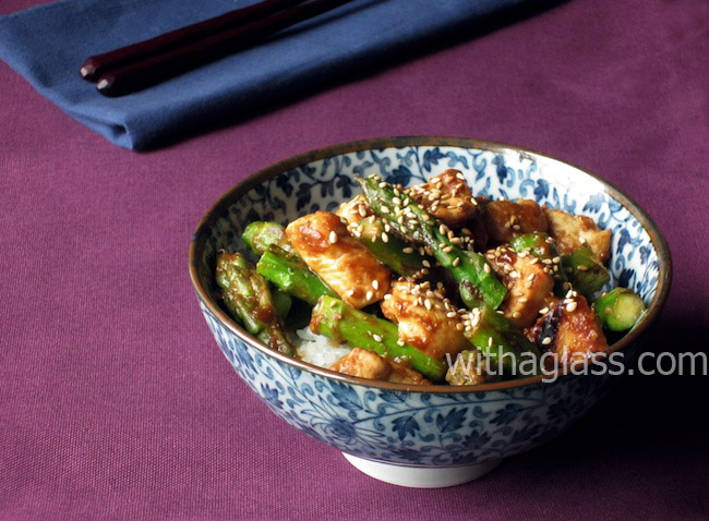 Asparagus and Chicken Stir-Fried with Miso Sauce