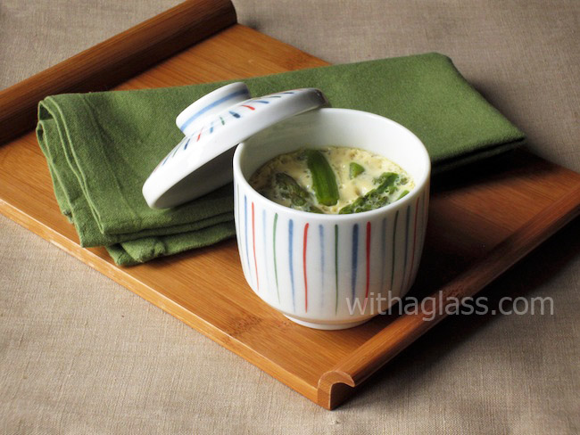 Chawan Mushi with Asparagus (Japanese Savoury Egg Custard with Asparagus)