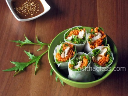 Mizuna, Carrot and Chicken Spring Rolls