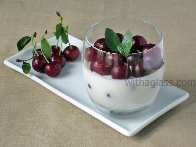 Light Unbaked Cheesecake/Greek Yogurt Mousse with Sour Cherries