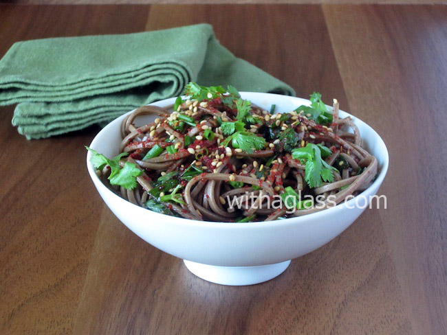 Spicy Cold Soba (Buckwheat Noodles) with Fresh Coriander