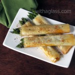 Filo Rolls with Asparagus, Chorizo and Parmesan