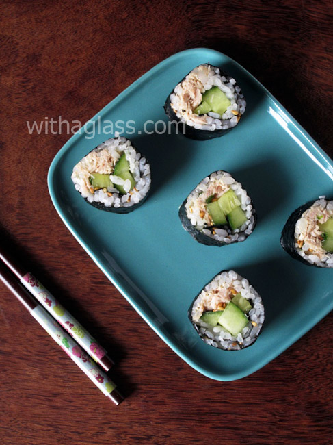 Everyday Maki Sushi with Canned Tuna and Cucumber