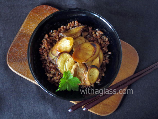 Eringi Mushrooms, Buckwheat Groats and Teriyaki Sauce