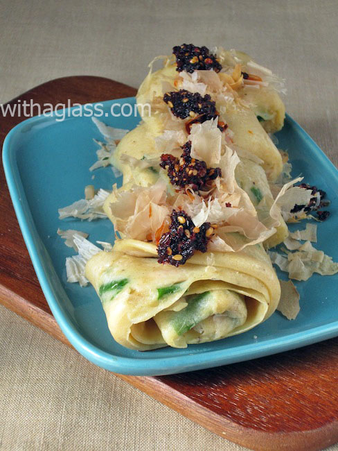 Hira Yachi (Rolled Okinawan Pancake with Green Onion and Canned Tuna)