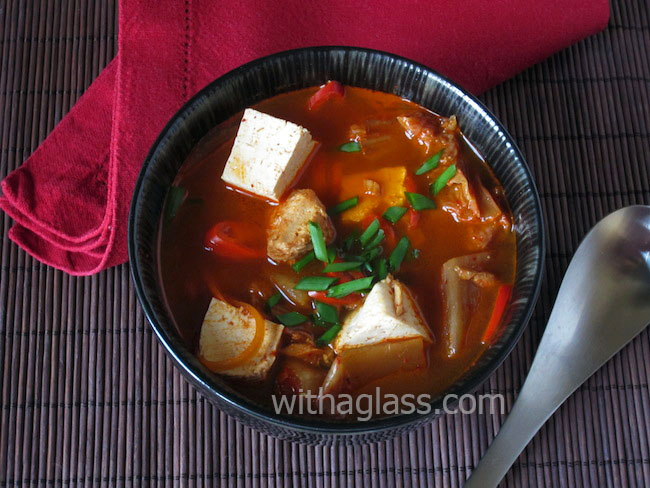 Korean Kimchi Stew with Canned Tuna and Tofu
