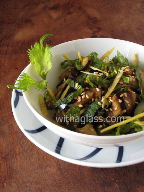 Japanese raw aubergine salad