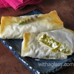 Filo Rolls with Roasted Green Chilli Pepper and Feta