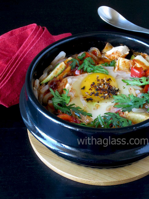 Kimchi Stew with Chicken, Poached Egg and Konnyaku Noodles