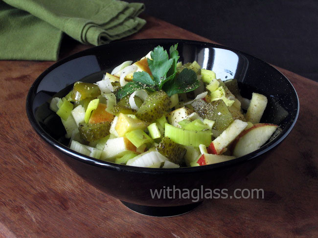 Winter Salad with Salt-Brined Cucumber, Leek and Apple