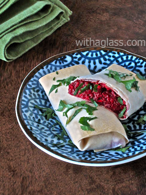 Filo (or Yufka) Rolls with Beetroot and Feta