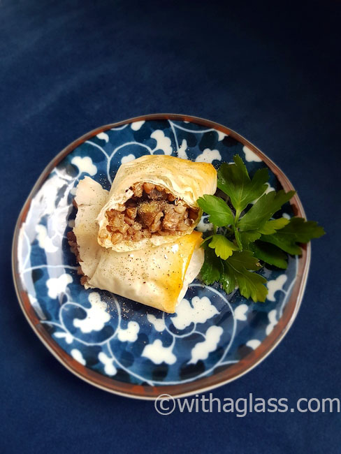 Filo Rolls with Buckwheat (Groats) and Mushrooms