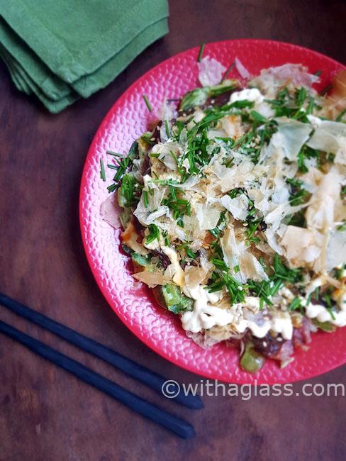 Spring Okonomiyaki (Japanese Savoury Pancake) with Wild Garlic