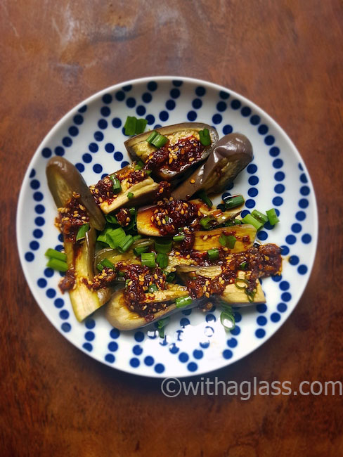 Steamed Aubergine with a Korean Sesame and Chilli Sauce