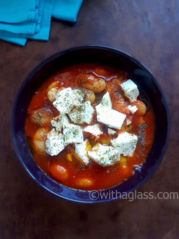 Greek-Style Giant Bean Stew with Feta and Chinese Celery
